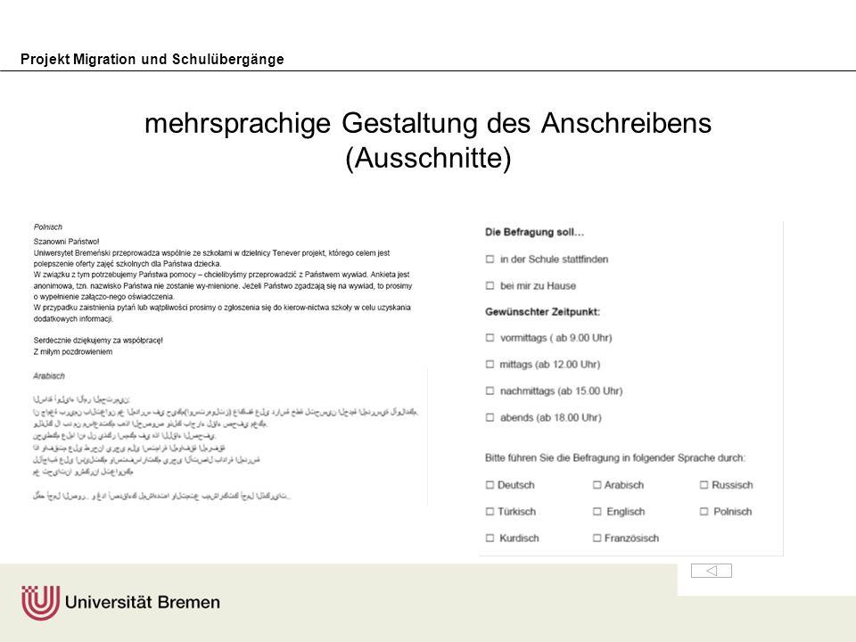 Projekt Migration und Schulübergänge Fragebogen (2. Bereich/Ausschnitte)