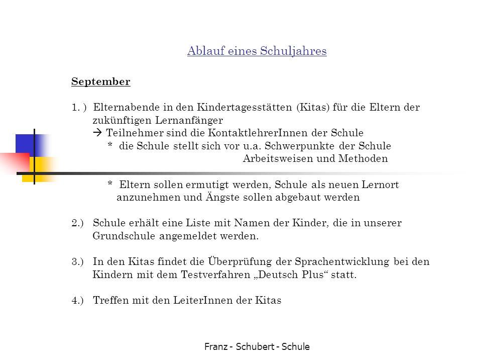 Franz - Schubert - Schule Ablauf eines Schuljahres September 1. ) Elternabende in den Kindertagesstätten (Kitas) für die Eltern der zukünftigen Lernan