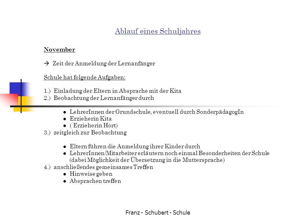 Franz - Schubert - Schule Ablauf eines Schuljahres November Zeit der Anmeldung der Lernanfänger Schule hat folgende Aufgaben: 1.) Einladung der Eltern