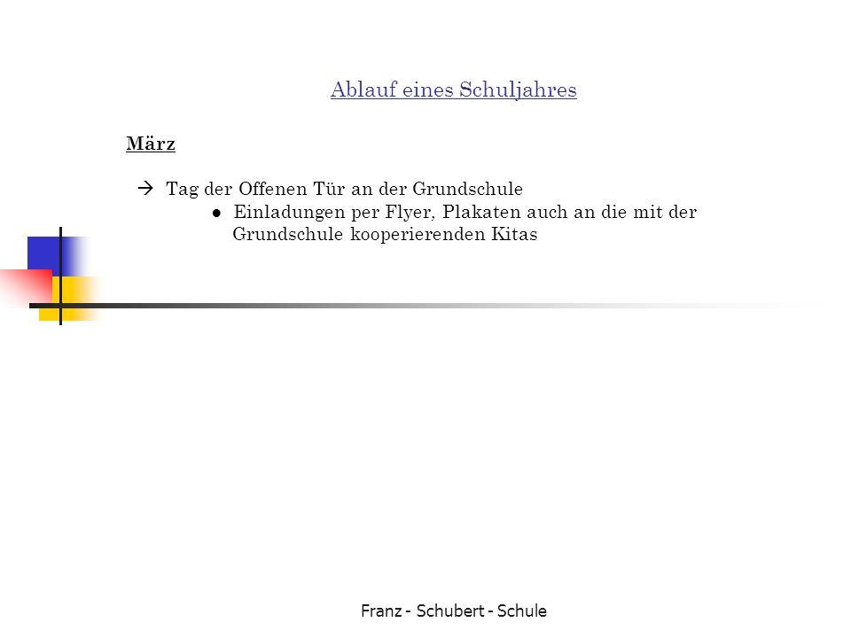 Franz - Schubert - Schule Ablauf eines Schuljahres März Tag der Offenen Tür an der Grundschule Einladungen per Flyer, Plakaten auch an die mit der Gru
