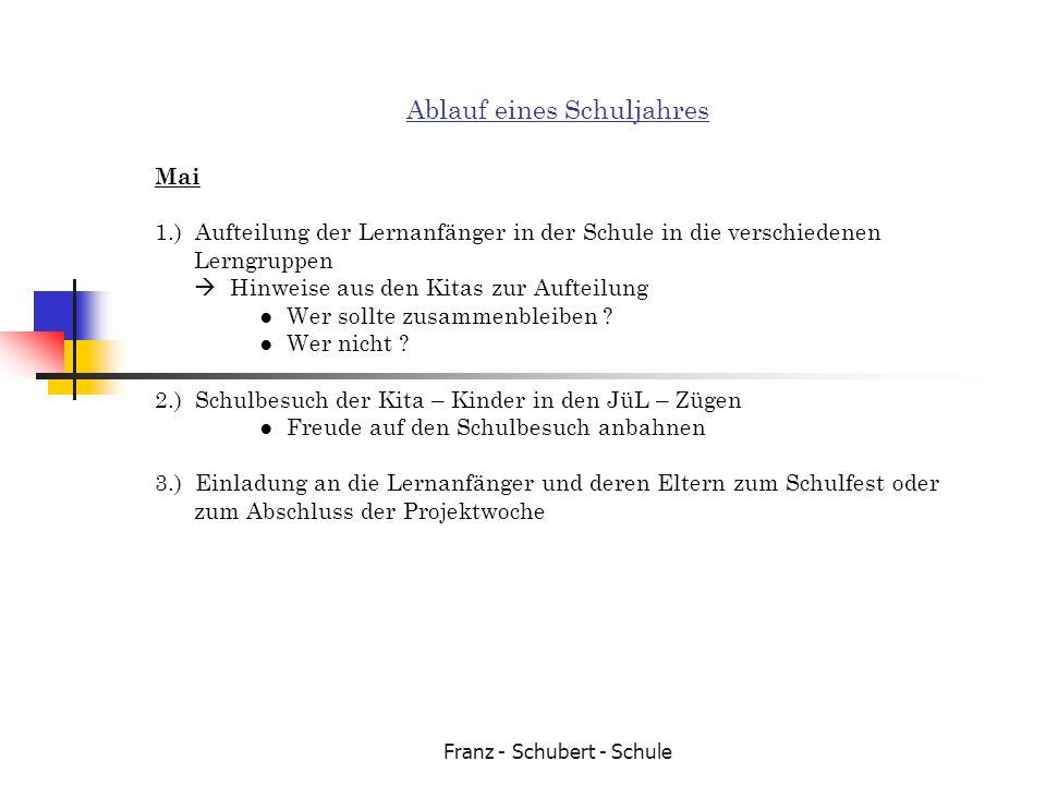 Franz - Schubert - Schule Ablauf eines Schuljahres Mai 1.) Aufteilung der Lernanfänger in der Schule in die verschiedenen Lerngruppen Hinweise aus den