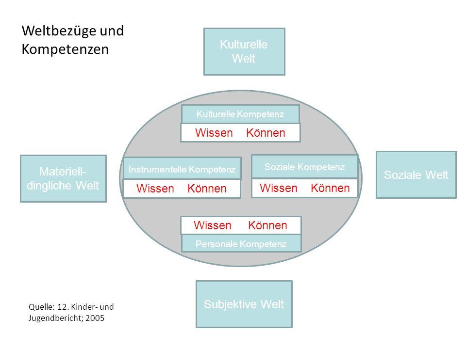 Soziale Welt Kulturelle Welt Subjektive Welt Materiell- dingliche Welt Quelle: 12. Kinder- und Jugendbericht; 2005 Instrumentelle Kompetenz Soziale Ko