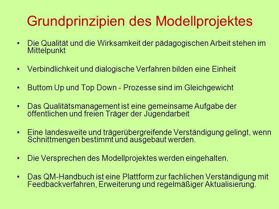 Grundprinzipien des Modellprojektes Die Qualität und die Wirksamkeit der pädagogischen Arbeit stehen im Mittelpunkt Verbindlichkeit und dialogische Ve