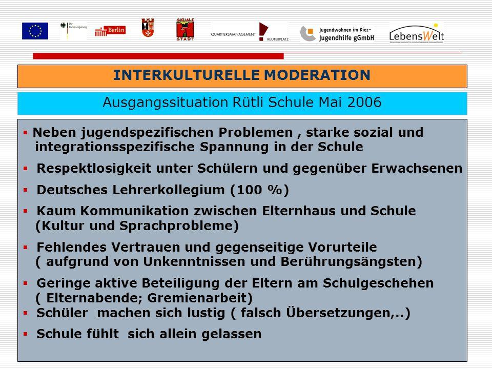 INTERKULTURELLE MODERATION Ausgangssituation Rütli Schule Mai 2006 Neben jugendspezifischen Problemen, starke sozial und integrationsspezifische Spann