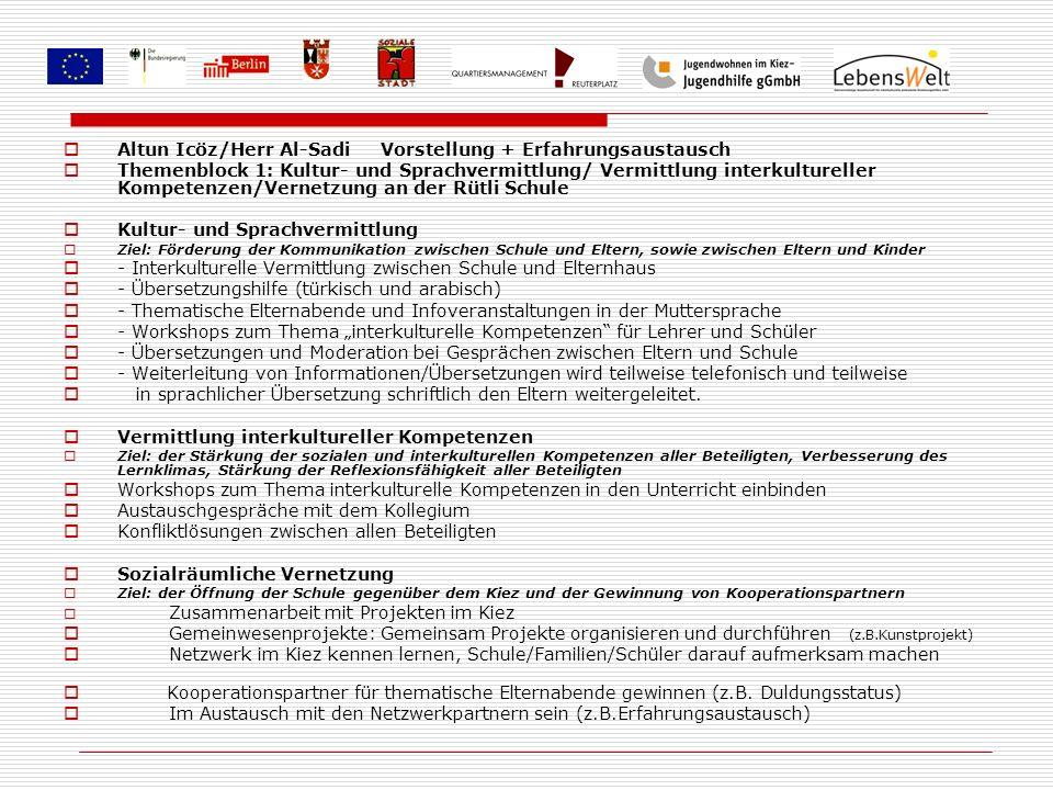 Altun Icöz/Herr Al-Sadi Vorstellung + Erfahrungsaustausch Themenblock 1: Kultur- und Sprachvermittlung/ Vermittlung interkultureller Kompetenzen/Verne