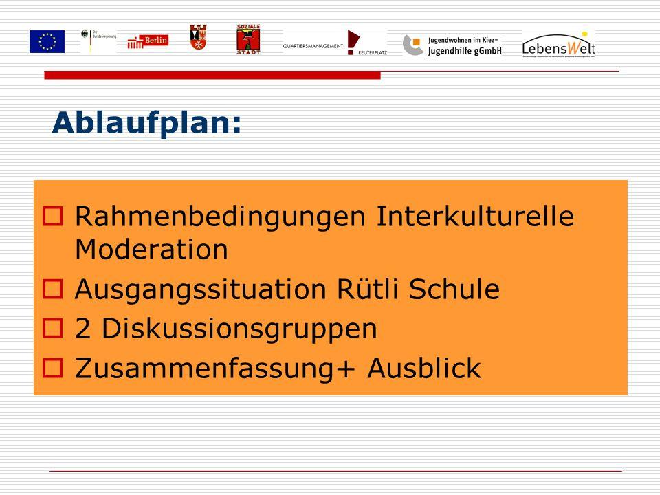 Rahmenbedingungen Interkulturelle Moderation Ausgangssituation Rütli Schule 2 Diskussionsgruppen Zusammenfassung+ Ausblick Ablaufplan:
