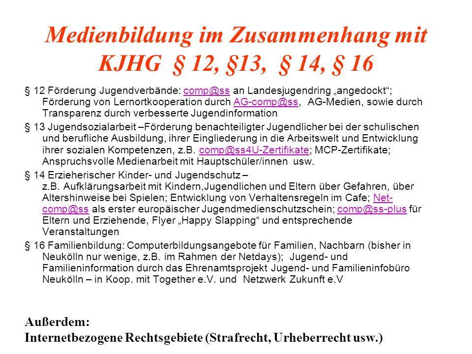 Rechtliche und methodische Grundlagen der MM-Cafés: Jugendarbeit nach § 11 KJHG