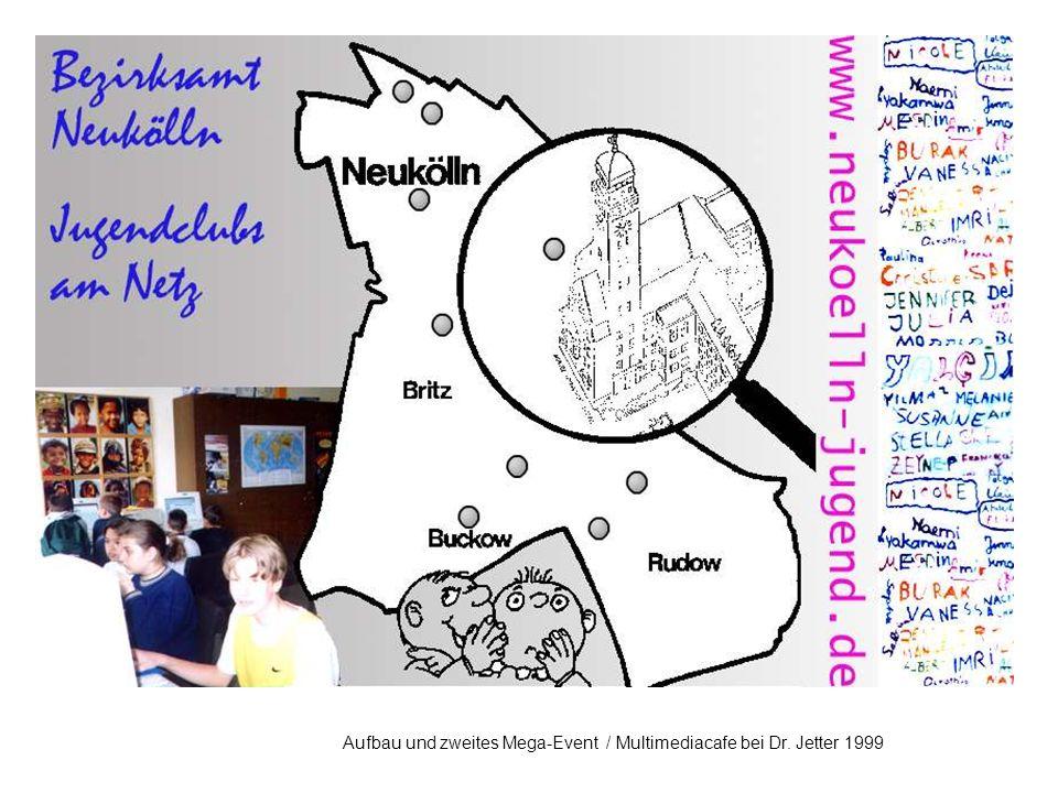 Aufbauphase 1998-2000: Gemeinwesenorientierte Multimediacafés in Jugendeinrichtungen Außerdem: Kleine Multimedia Angebote in Kindereinrichtungen Jugendliches Team Ausreichend Rechner Integration in den Offenen Betrieb (Offene Jugendarbeit und hohe Öffnungsstunden) Beteiligung der Jugendlichen an der Programmgestaltung, Ausstattung usw.