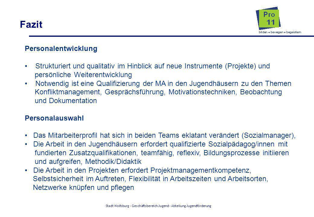 Stadt Wolfsburg - Geschäftsbereich Jugend - Abteilung Jugendförderung Fazit Personalentwicklung Strukturiert und qualitativ im Hinblick auf neue Instr