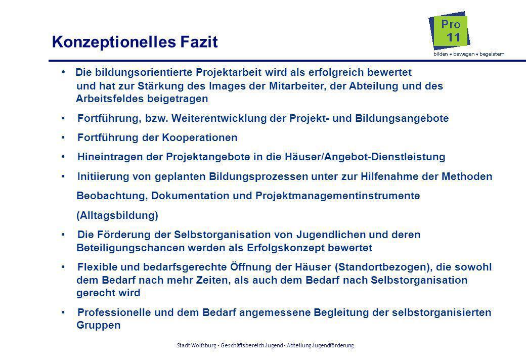 Stadt Wolfsburg - Geschäftsbereich Jugend - Abteilung Jugendförderung Die bildungsorientierte Projektarbeit wird als erfolgreich bewertet und hat zur