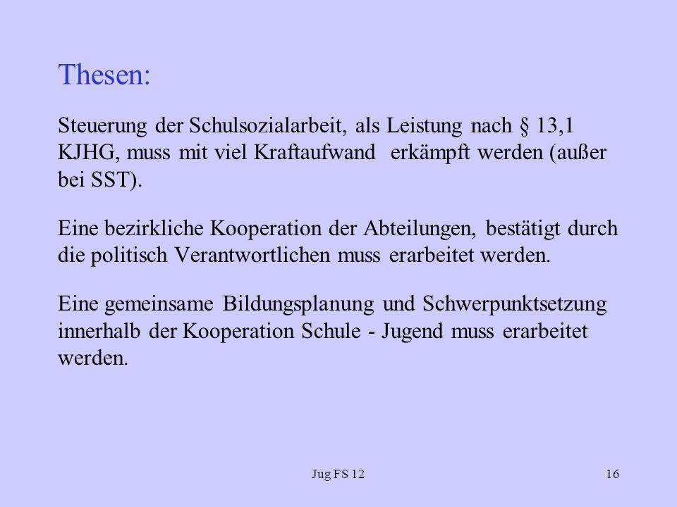 Jug FS 1216 Thesen: Steuerung der Schulsozialarbeit, als Leistung nach § 13,1 KJHG, muss mit viel Kraftaufwand erkämpft werden (außer bei SST).