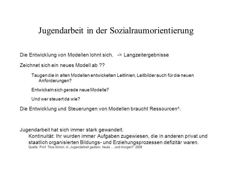 Jugendarbeit in der Sozialraumorientierung Die Entwicklung von Modellen lohnt sich.