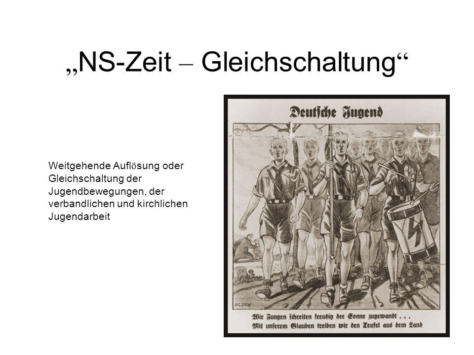 NS-Zeit – Gleichschaltung Weitgehende Aufl ö sung oder Gleichschaltung der Jugendbewegungen, der verbandlichen und kirchlichen Jugendarbeit
