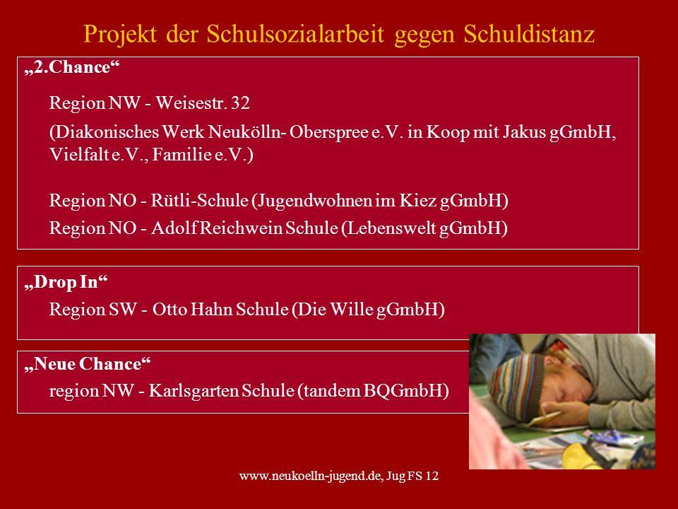 www.neukoelln-jugend.de, Jug FS 12 Projekt der Schulsozialarbeit gegen Schuldistanz 2.Chance Region NW - Weisestr. 32 (Diakonisches Werk Neukölln- Obe
