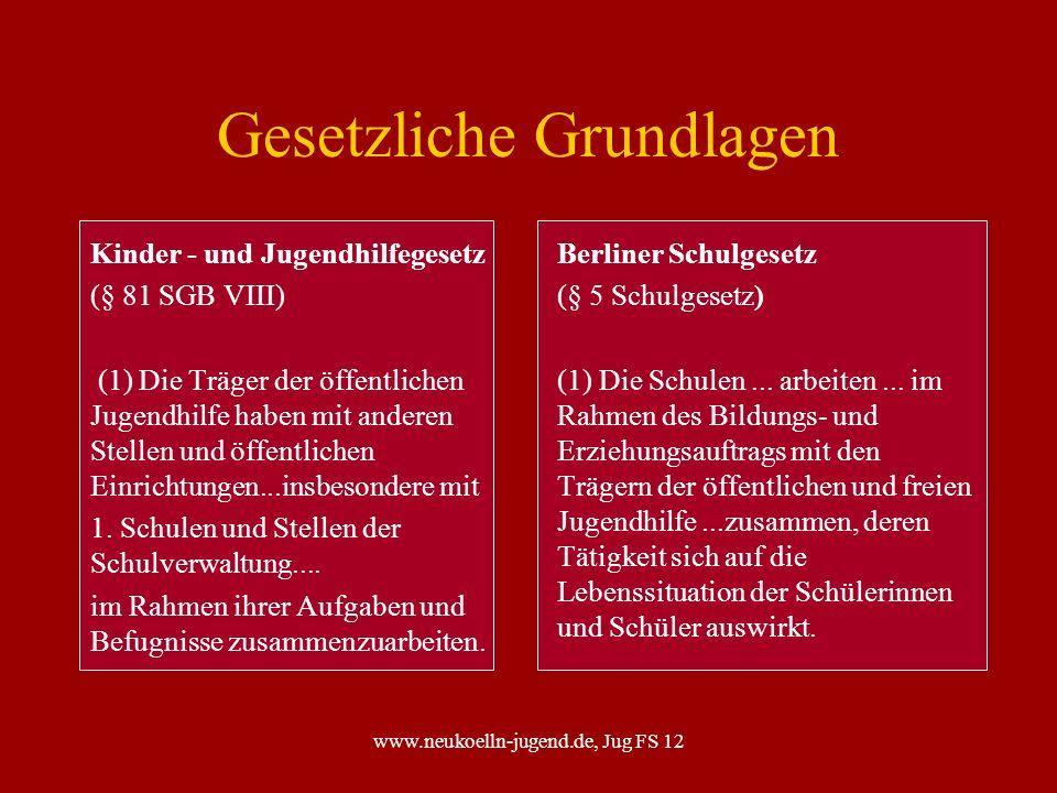 www.neukoelln-jugend.de, Jug FS 12 Gesetzliche Grundlagen Kinder - und Jugendhilfegesetz (§ 81 SGB VIII) (1) Die Träger der öffentlichen Jugendhilfe h