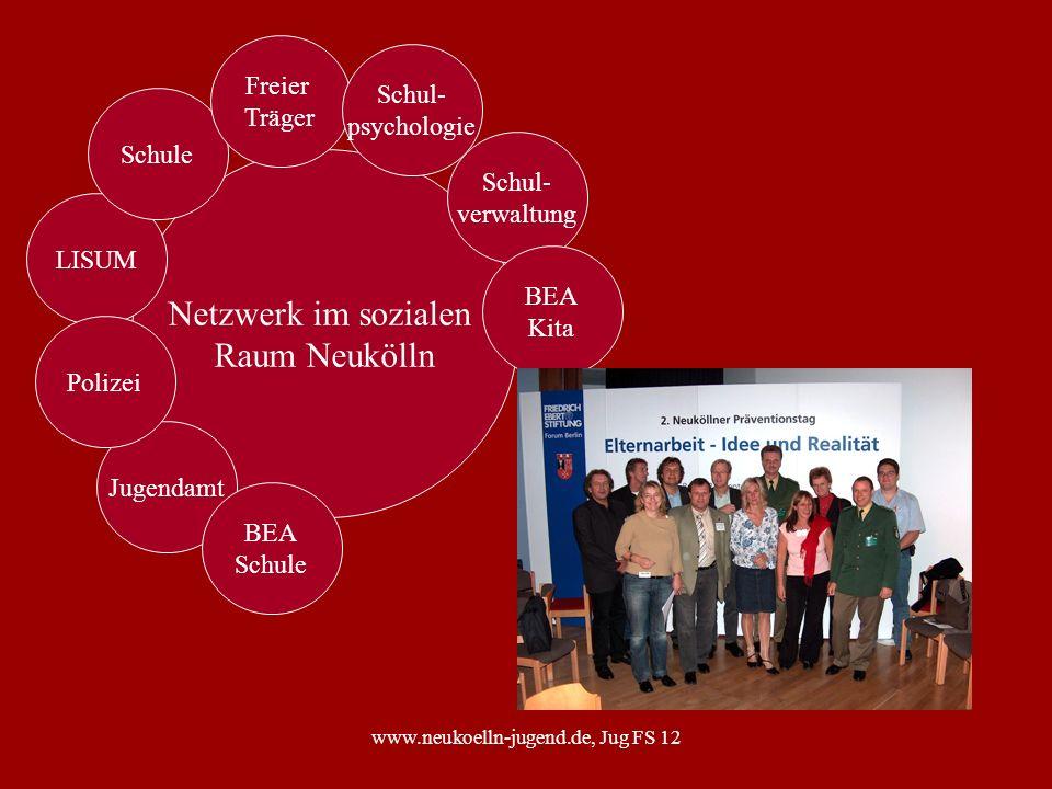 www.neukoelln-jugend.de, Jug FS 12 Netzwerk im sozialen Raum Neukölln LISUM Jugendamt Schul- verwaltung Schule Freier Träger Polizei BEA Schule Schul-