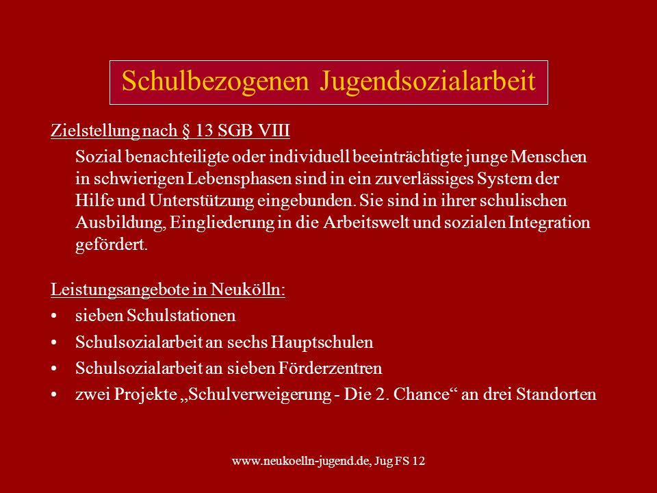 www.neukoelln-jugend.de, Jug FS 12 Kooperation Schule - Jugendhilfe Zielstellung Die Zusammenarbeit der Institutionen vor allem in Bezug auf die Schwerpunktthemen - Schuldistanz - Verdacht auf Kinderschutz - Kinderschutz ist verbessert.