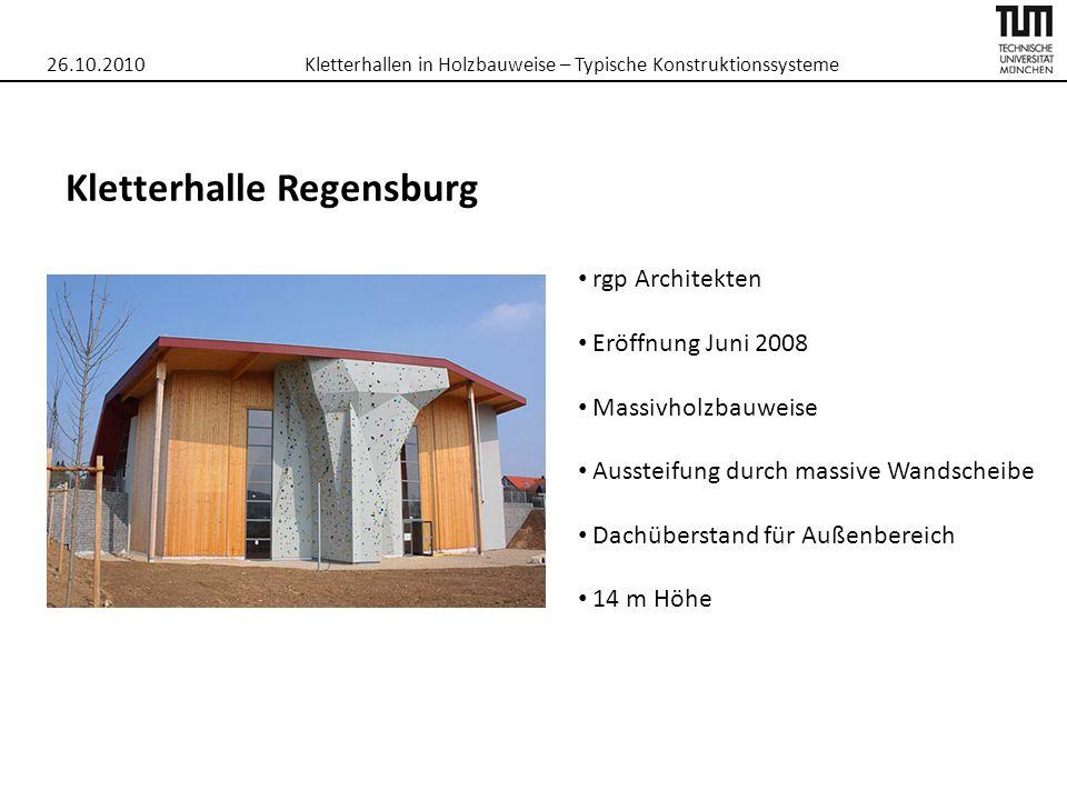 26.10.2010Kletterhallen in Holzbauweise – Typische Konstruktionssysteme Kletterhalle Regensburg rgp Architekten Eröffnung Juni 2008 Massivholzbauweise