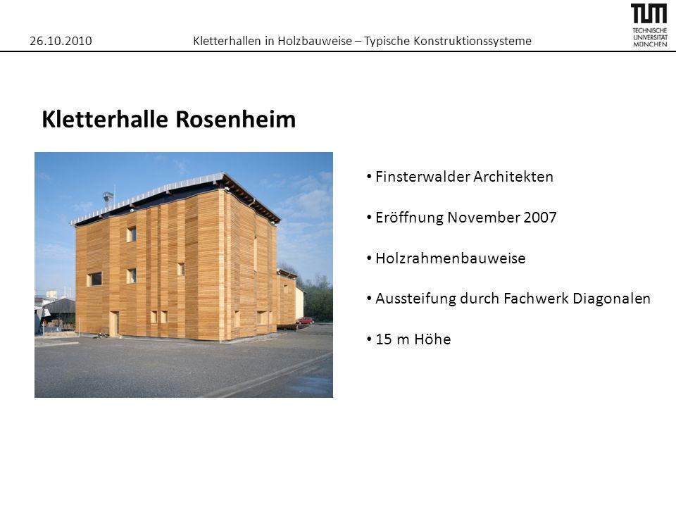 26.10.2010Kletterhallen in Holzbauweise – Typische Konstruktionssysteme Kletterhalle Rosenheim Finsterwalder Architekten Eröffnung November 2007 Holzr