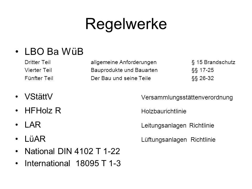 Regelwerke LBO Ba WüB Dritter Teil allgemeine Anforderungen § 15 Brandschutz Vierter TeilBauprodukte und Bauarten §§ 17-25 Fünfter Teil Der Bau und se