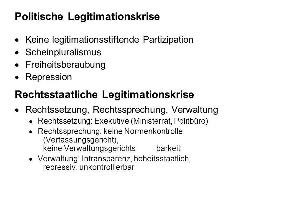 Politische Legitimationskrise Keine legitimationsstiftende Partizipation Scheinpluralismus Freiheitsberaubung Repression Rechtsstaatliche Legitimation