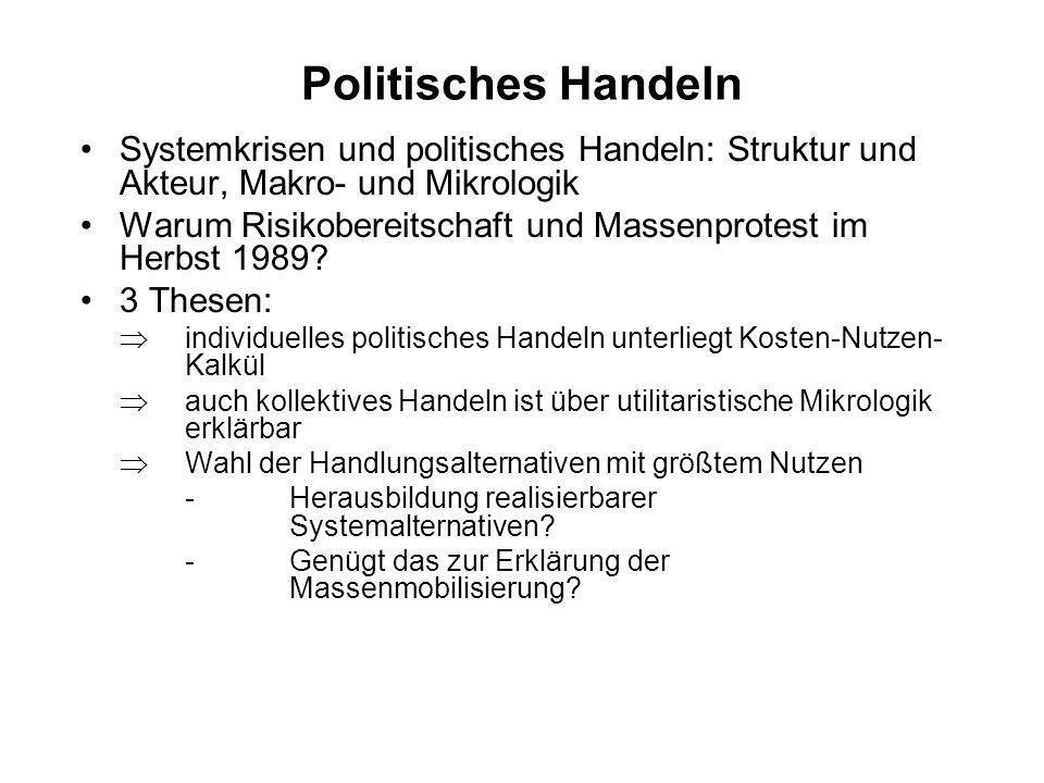 Politisches Handeln Systemkrisen und politisches Handeln: Struktur und Akteur, Makro- und Mikrologik Warum Risikobereitschaft und Massenprotest im Her
