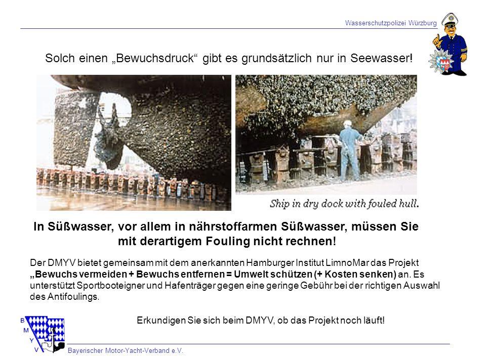 Wasserschutzpolizei Würzburg Bayerischer Motor-Yacht-Verband e.V. Solch einen Bewuchsdruck gibt es grundsätzlich nur in Seewasser! In Süßwasser, vor a
