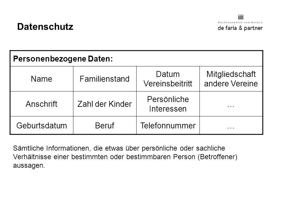 de faria & partner Datenschutz Personenbezogene Daten: NameFamilienstand Datum Vereinsbeitritt Mitgliedschaft andere Vereine AnschriftZahl der Kinder