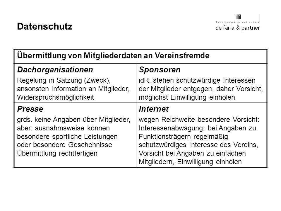 de faria & partner Datenschutz Übermittlung von Mitgliederdaten an Vereinsfremde Dachorganisationen Regelung in Satzung (Zweck), ansonsten Information