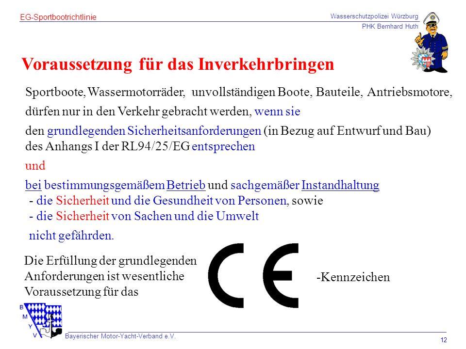 Wasserschutzpolizei Würzburg PHK Bernhard Huth Bayerischer Motor-Yacht-Verband e.V. 12 EG-Sportbootrichtlinie Voraussetzung für das Inverkehrbringen S