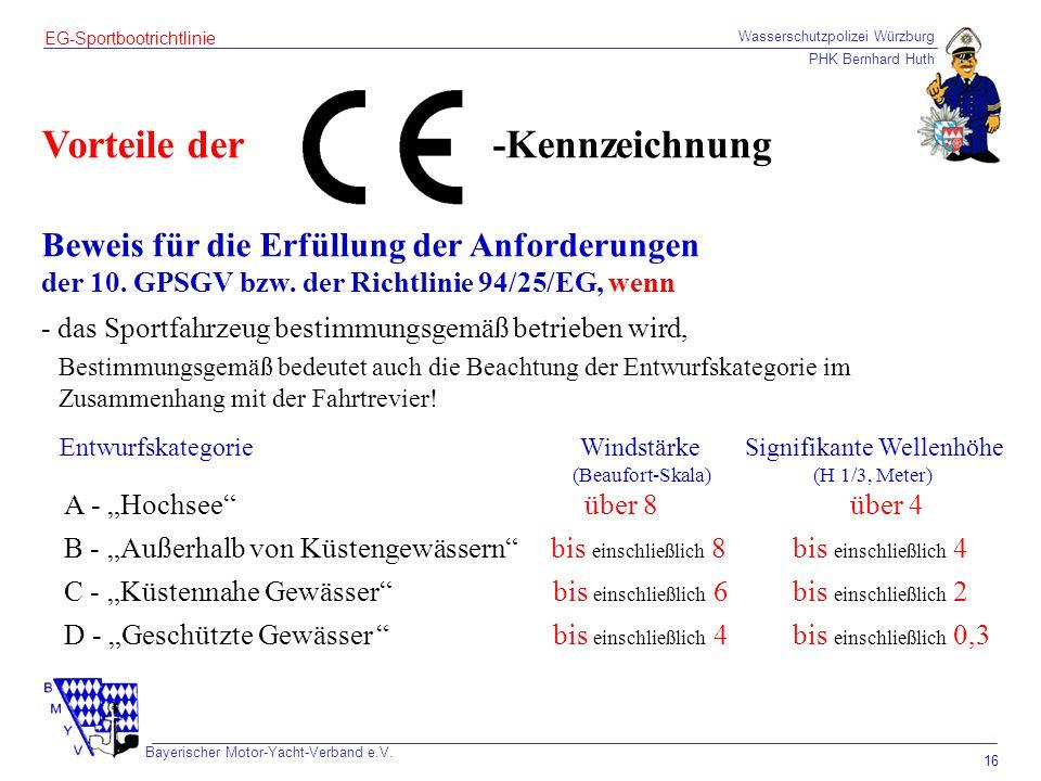 Wasserschutzpolizei Würzburg PHK Bernhard Huth Bayerischer Motor-Yacht-Verband e.V. 16 EG-Sportbootrichtlinie Vorteile der Beweis für die Erfüllung de