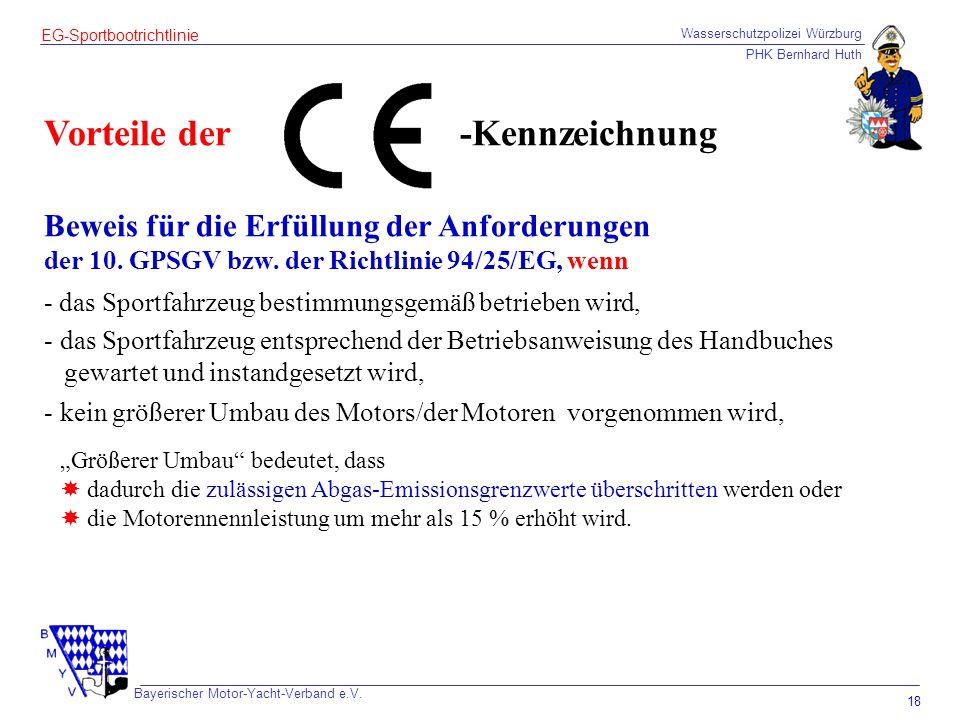 Wasserschutzpolizei Würzburg PHK Bernhard Huth Bayerischer Motor-Yacht-Verband e.V. 18 EG-Sportbootrichtlinie Vorteile der Beweis für die Erfüllung de