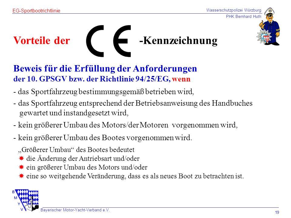 Wasserschutzpolizei Würzburg PHK Bernhard Huth Bayerischer Motor-Yacht-Verband e.V. 19 EG-Sportbootrichtlinie Vorteile der Beweis für die Erfüllung de
