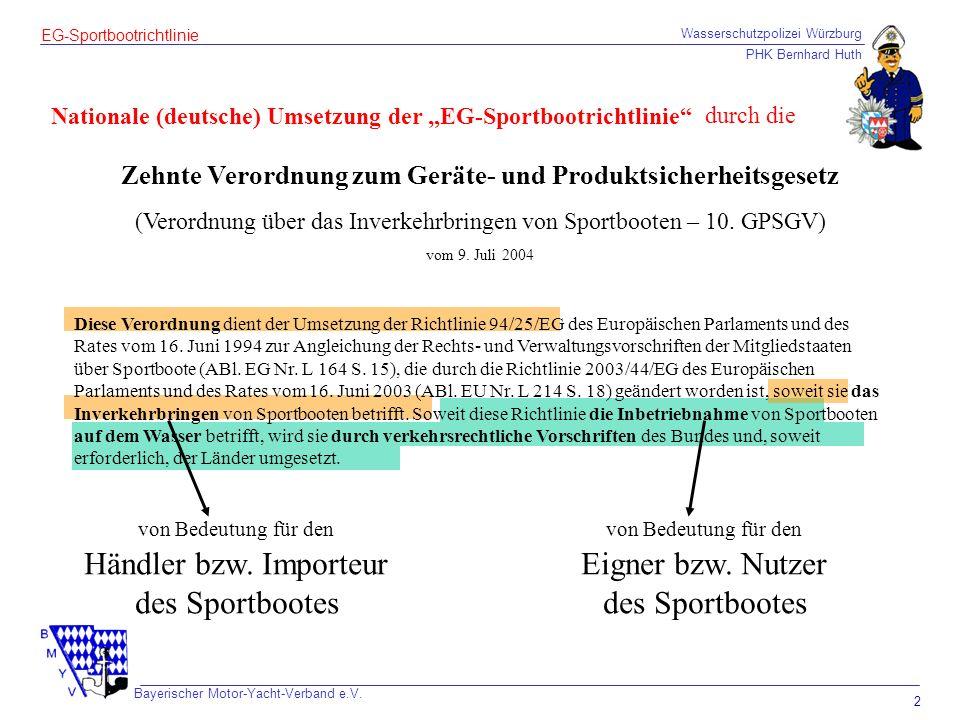 Wasserschutzpolizei Würzburg PHK Bernhard Huth Bayerischer Motor-Yacht-Verband e.V. 2 EG-Sportbootrichtlinie Zehnte Verordnung zum Geräte- und Produkt