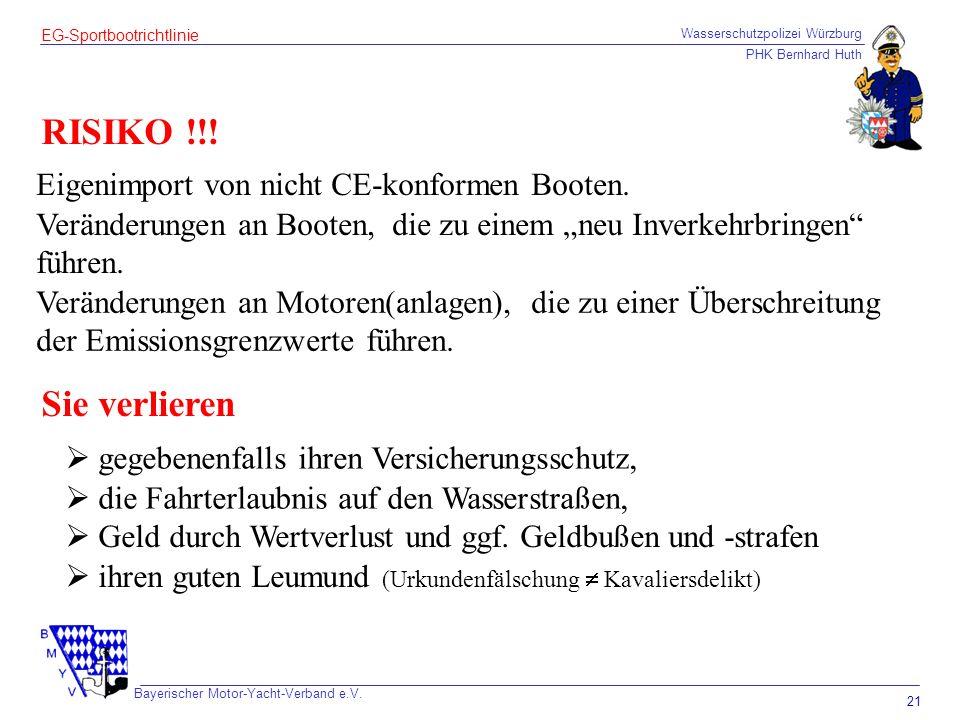Wasserschutzpolizei Würzburg PHK Bernhard Huth Bayerischer Motor-Yacht-Verband e.V. 21 EG-Sportbootrichtlinie RISIKO !!! Eigenimport von nicht CE-konf