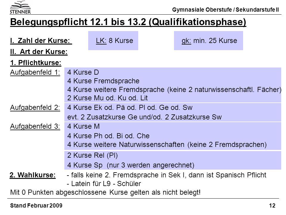 Stand Februar 2009 12 Gymnasiale Oberstufe / Sekundarstufe II Belegungspflicht 12.1 bis 13.2 (Qualifikationsphase) I. Zahl der Kurse: LK: 8 Kursegk: m