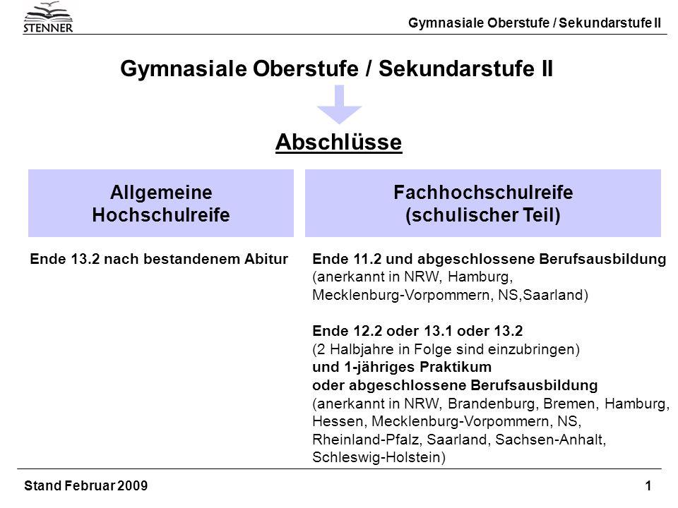 Gymnasiale Oberstufe / Sekundarstufe II Abschlüsse Allgemeine Hochschulreife Fachhochschulreife (schulischer Teil) Gymnasiale Oberstufe / Sekundarstuf