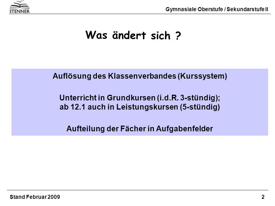 Gymnasiale Oberstufe / Sekundarstufe II Stand Februar 2009 2 Auflösung des Klassenverbandes (Kurssystem) Unterricht in Grundkursen (i.d.R. 3-stündig);