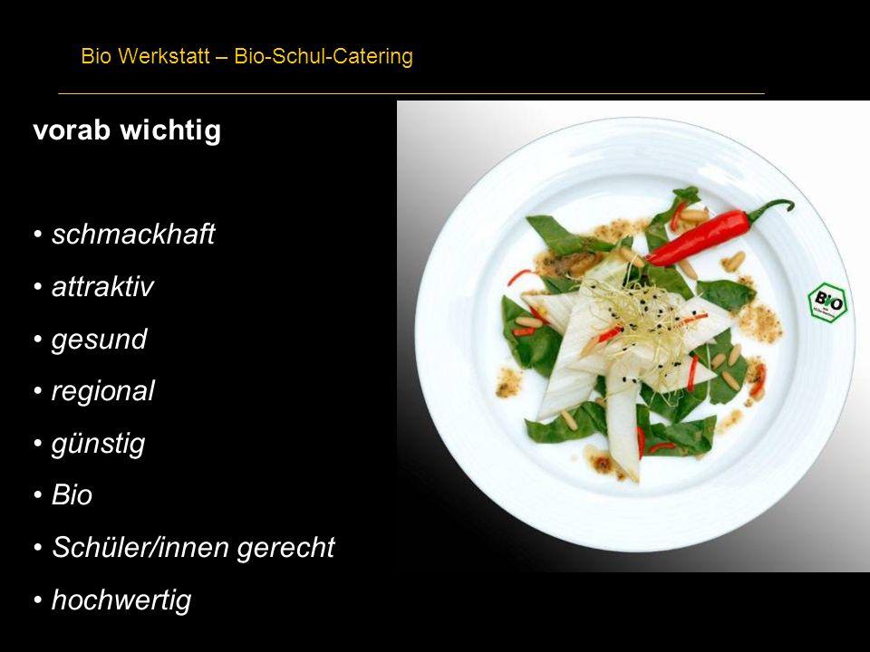 Bio Werkstatt – Bio-Schul-Catering vorab wichtig schmackhaft attraktiv gesund regional günstig Bio Schüler/innen gerecht hochwertig