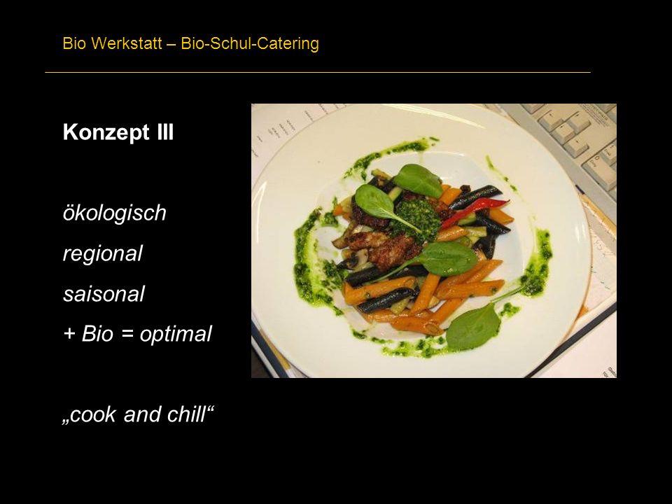 Bio Werkstatt – Bio-Schul-Catering Konzept III ökologisch regional saisonal + Bio = optimal cook and chill