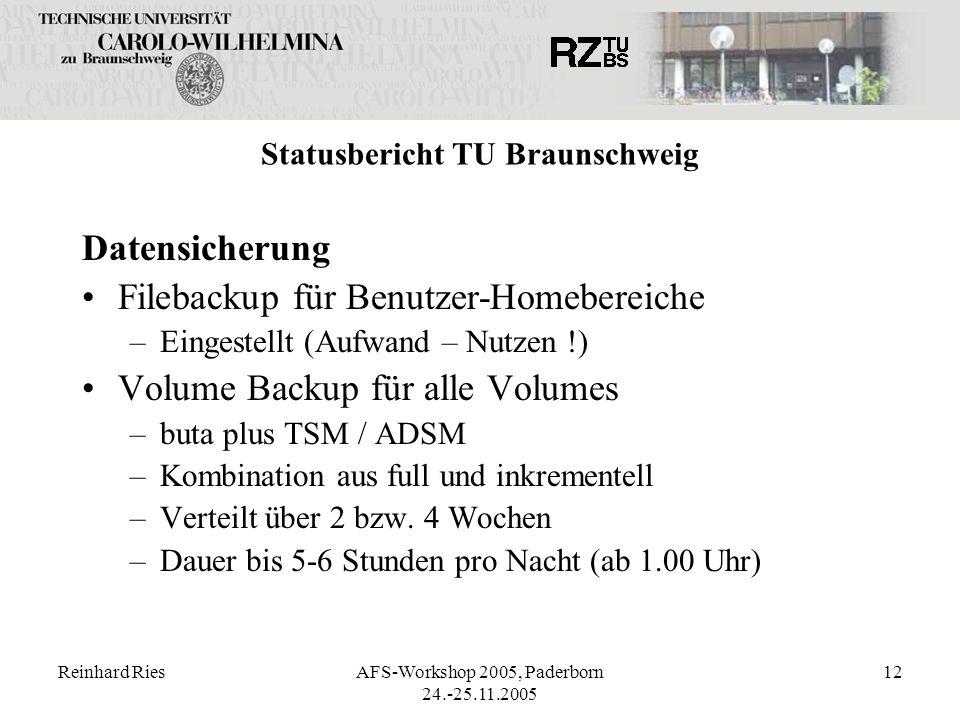 Reinhard RiesAFS-Workshop 2005, Paderborn 24.-25.11.2005 12 Statusbericht TU Braunschweig Datensicherung Filebackup für Benutzer-Homebereiche –Eingest