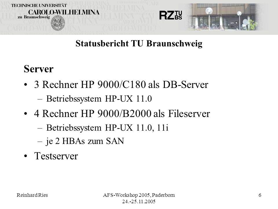 Reinhard RiesAFS-Workshop 2005, Paderborn 24.-25.11.2005 6 Statusbericht TU Braunschweig Server 3 Rechner HP 9000/C180 als DB-Server –Betriebssystem H