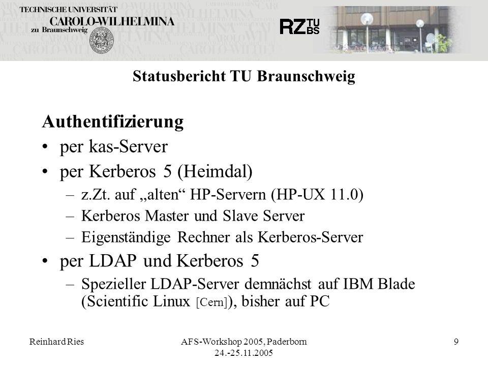 Reinhard RiesAFS-Workshop 2005, Paderborn 24.-25.11.2005 9 Statusbericht TU Braunschweig Authentifizierung per kas-Server per Kerberos 5 (Heimdal) –z.