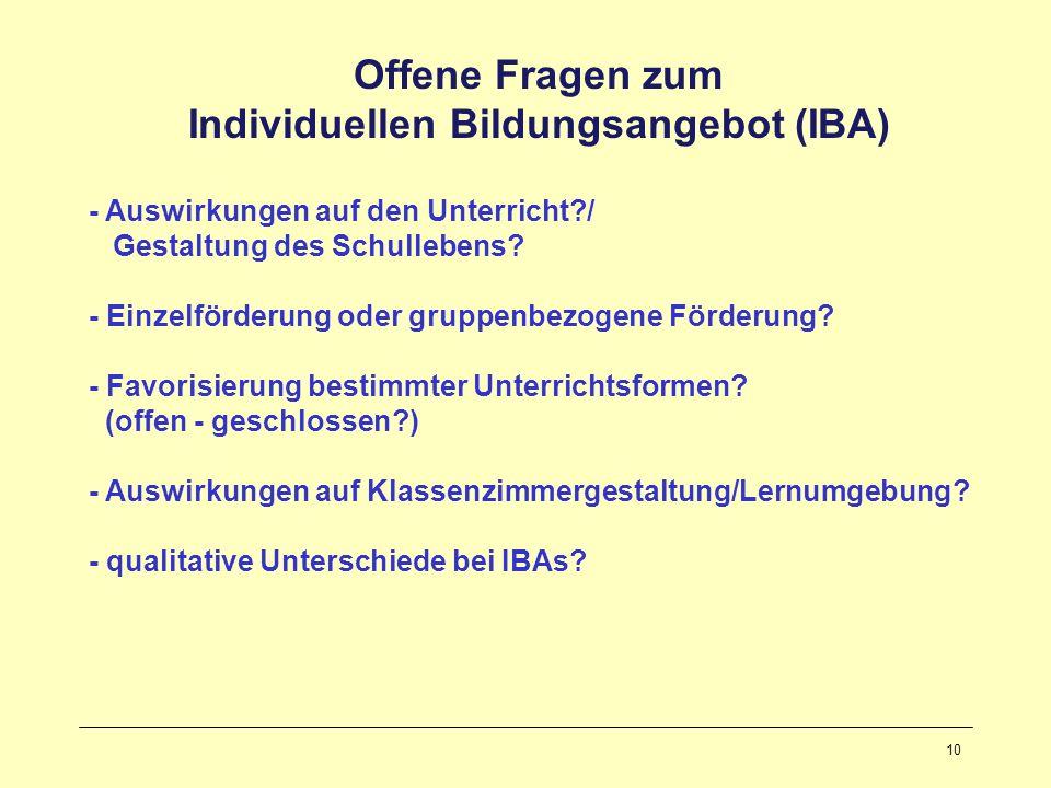 10 Offene Fragen zum Individuellen Bildungsangebot (IBA) - Auswirkungen auf den Unterricht?/ Gestaltung des Schullebens? - Einzelförderung oder gruppe