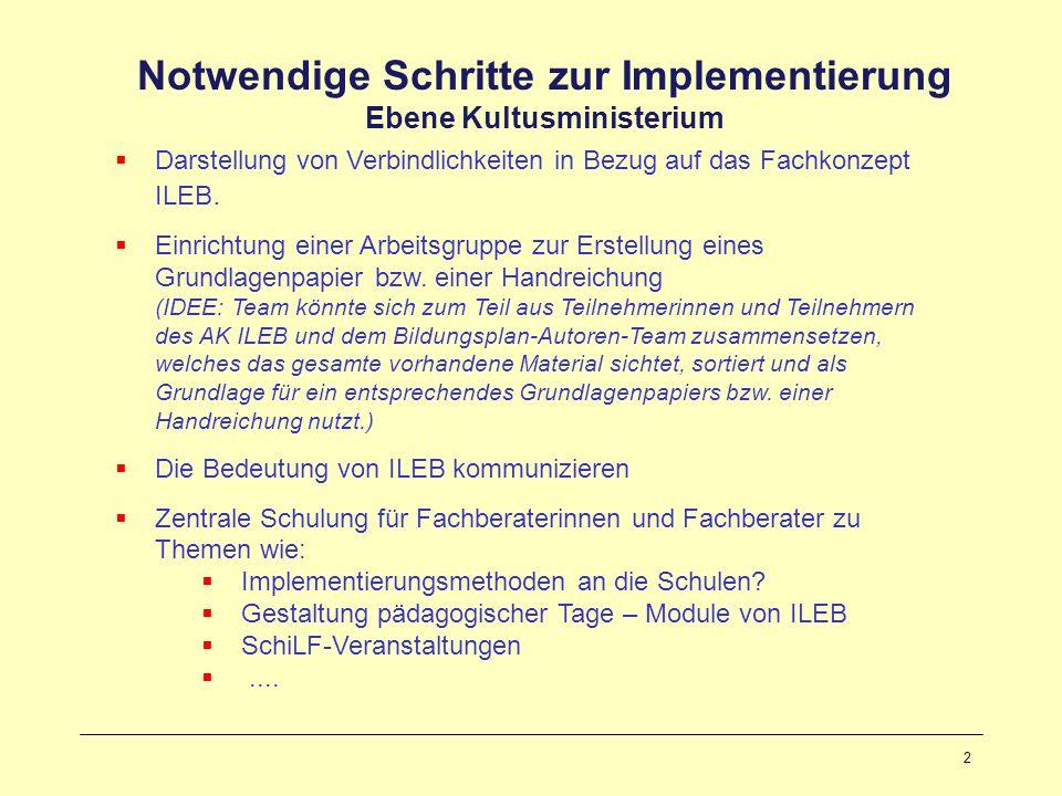 2 Notwendige Schritte zur Implementierung Ebene Kultusministerium Darstellung von Verbindlichkeiten in Bezug auf das Fachkonzept ILEB. Einrichtung ein