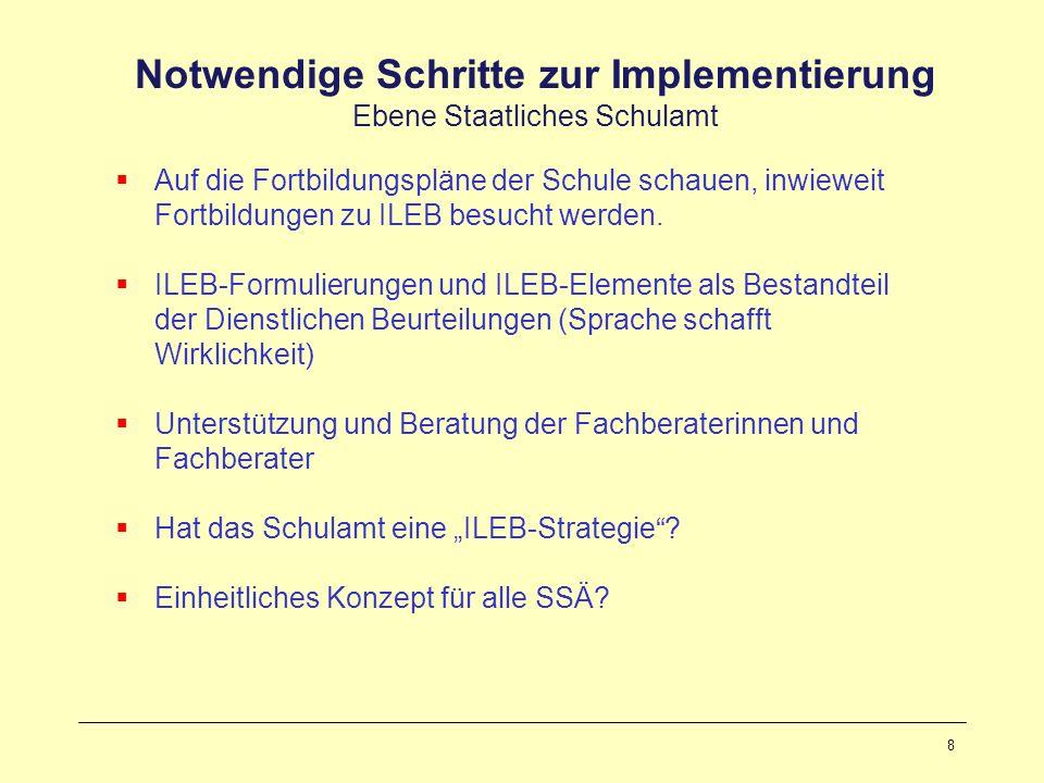 9 Notwendige Schritte zur Implementierung Ebene Schule Schnittstelle und Motor: Schulleitung ILEB-Bewusstsein vorhanden.