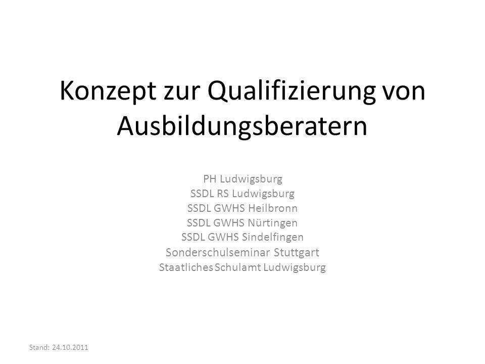 Qualifizierung von Ausbildungsberatern Führungskräftequalifizierung (adäquat zu Fachberatern, Lehrerfortbildung, Beratungslehrer) Eingangsqualifizierung (2 Tage) Modul 1 Modul 2 Modul 3 Modul 4 Angebote der PH (auch für übergreifende Zielgruppen) Angebote über die regionale Lehrerfortbildung Angebote der SSDLS Einführung am SSA (1 Nachmittag)