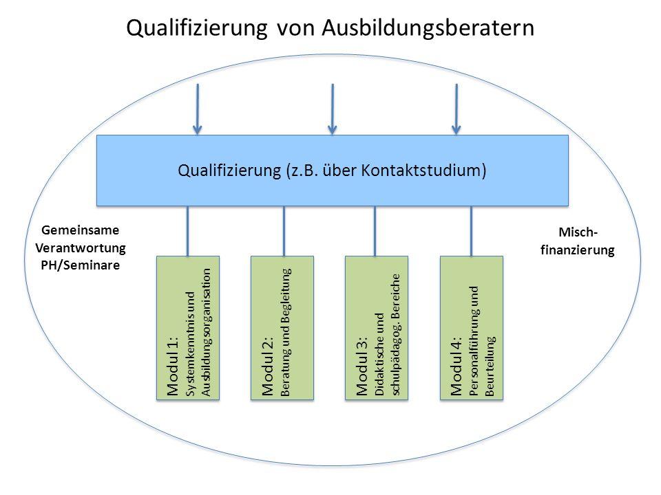 Qualifizierung von Ausbildungsberatern Qualifizierung (z.B. über Kontaktstudium) Modul 1: Systemkenntnis und Ausbildungsorganisation Gemeinsame Verant