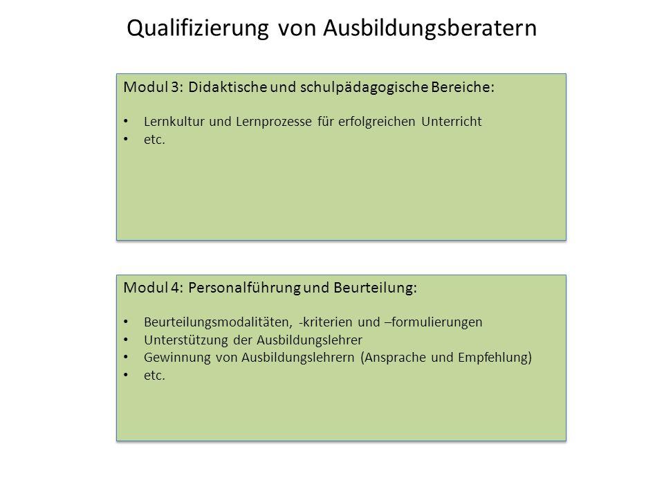 Qualifizierung von Ausbildungsberatern Modul 3: Didaktische und schulpädagogische Bereiche: Lernkultur und Lernprozesse für erfolgreichen Unterricht e