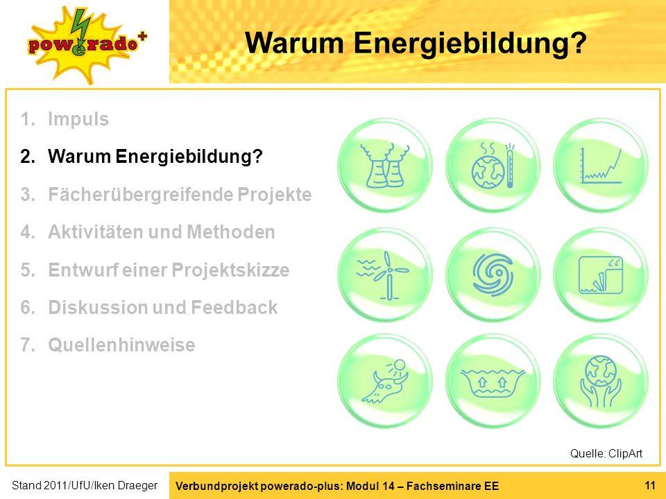 Verbundprojekt powerado-plus: Modul 14 – Fachseminare EE 11 Warum Energiebildung? Quelle: ClipArt 1.Impuls 2.Warum Energiebildung? 3.Fächerübergreifen